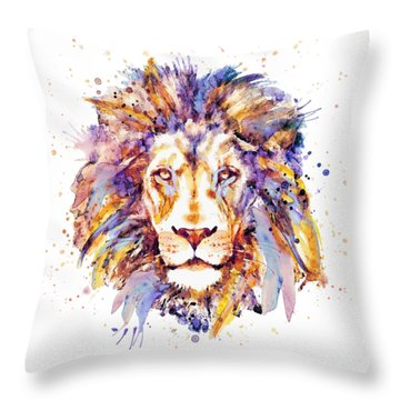 Lion Head Throw Pillow by Marian Voicu