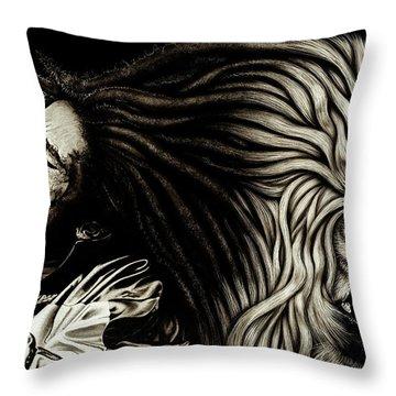 Lion Heart -bob Marley Throw Pillow by Dan Menta