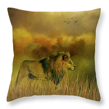 Lion In The Mist Throw Pillow by Diane Schuster