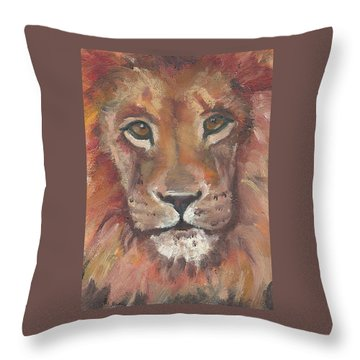 Throw Pillow featuring the painting Lion by Jessmyne Stephenson