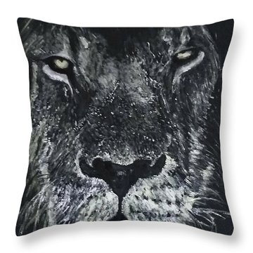 Throw Pillow featuring the painting Lion by Kevin Daly