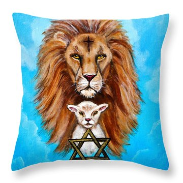 Throw Pillow featuring the painting Lion Lies Down With A Lamb by Bob and Nadine Johnston