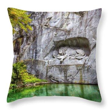 Lion Of Lucerne Throw Pillow by Carol Japp