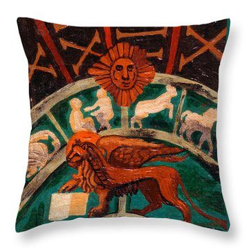 Throw Pillow featuring the painting Lion Of St. Mark by Genevieve Esson
