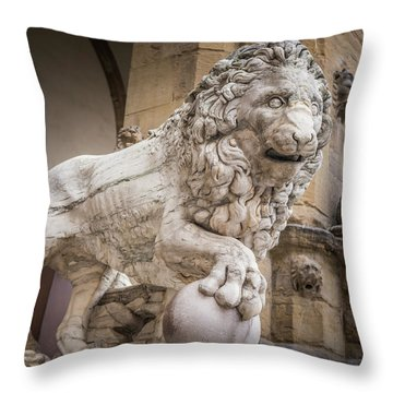 Lion On The Porch Throw Pillow