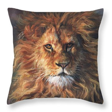 Lion Portrait Throw Pillow by David Stribbling