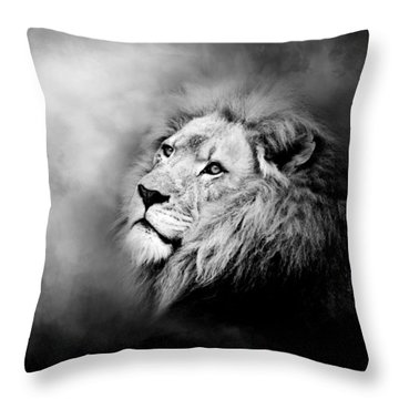 Lion - Pride Of Africa II - Tribute To Cecil In Black And White Throw Pillow