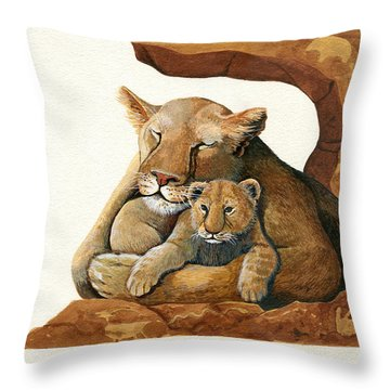 Lion - Protect Our Children Painting Throw Pillow