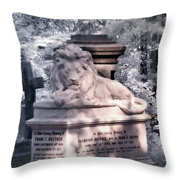 Lion Sleeping In The Shade Throw Pillow by Helga Novelli