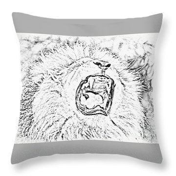 Lion Roar Drawing Throw Pillow
