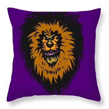 Lion Roar Purple Throw Pillow