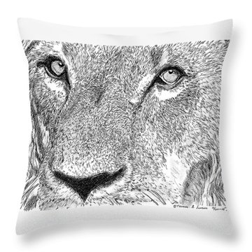 Lion Sketch Throw Pillow