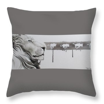 Lion Tears Throw Pillow