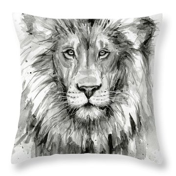 Lion Watercolor  Throw Pillow
