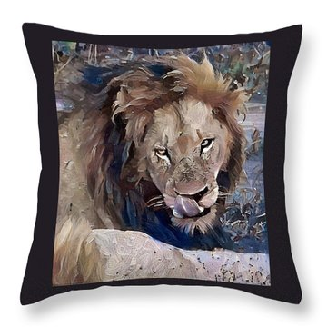 Lion With Tongue Throw Pillow