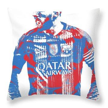 Lionel Messi F C Barcelona Argentina Pixel Art 7 Throw Pillow