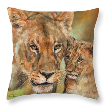Lioness And Cub Throw Pillow by David Stribbling