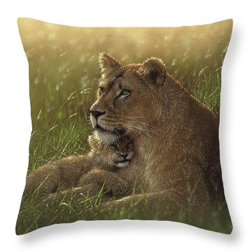 Lioness And Cub - Safe Haven Throw Pillow