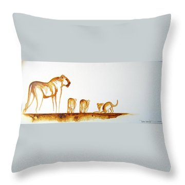 Lioness And Cubs Small - Original Artwork Throw Pillow