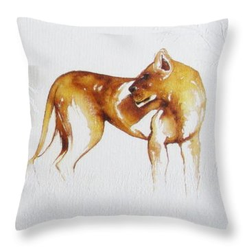 Lioness And Wildebeest Throw Pillow