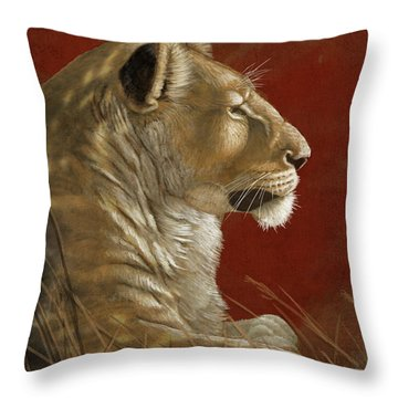 Lioness In The Shade Throw Pillow