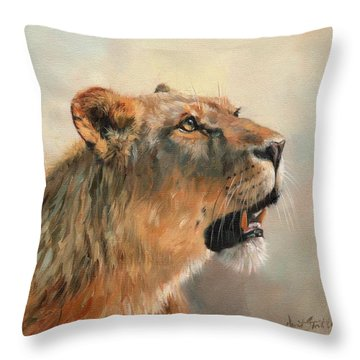 Lioness Portrait 2 Throw Pillow by David Stribbling