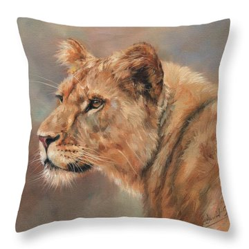 Lioness Portrait Throw Pillow by David Stribbling