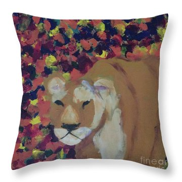 Throw Pillow featuring the painting Lioness Pride 1 Of 6 by Donald J Ryker III