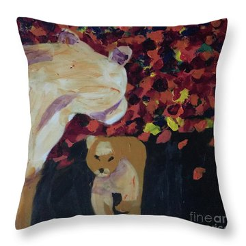 Throw Pillow featuring the painting Lioness' Pride 3 Of 6 by Donald J Ryker III