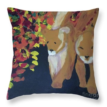Throw Pillow featuring the painting Lioness' Pride 4 Of 6 by Donald J Ryker III