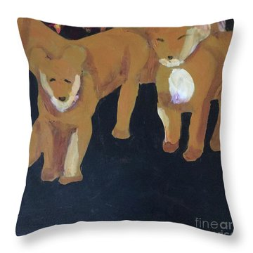 Throw Pillow featuring the painting Lioness' Pride 5 Of 6 by Donald J Ryker III