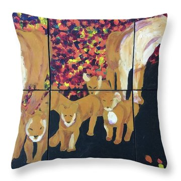 Throw Pillow featuring the painting Lioness Pride by Donald J Ryker III