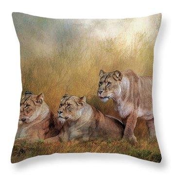 Lionesses Watching The Herd Throw Pillow