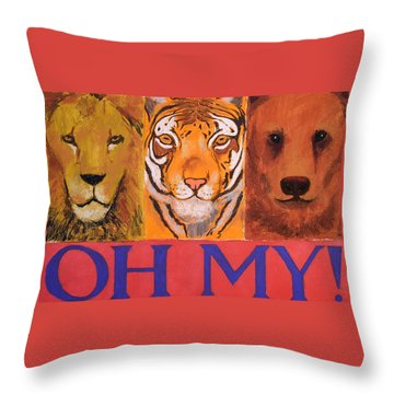 Lions And Tigers And Bears Throw Pillow by Mary McInnis