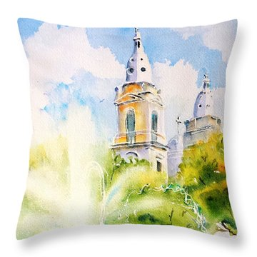 Lions Fountain Plaza Las Delicias  Ponce Cathedral Puerto Rico Throw Pillow