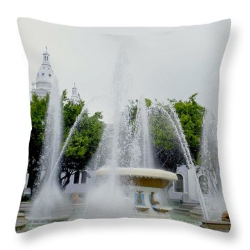 Lions Fountain, Ponce, Puerto Rico Throw Pillow