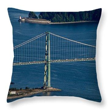 Lions Gate Bridge And Brockton Point Throw Pillow