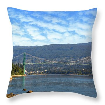 Lions Gate Bridge By Stanley Park Throw Pillow by David Gn