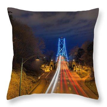 Lions Gate Bridge Light Trails Throw Pillow by David Gn