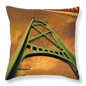 Lions Gate Bridge Tower Throw Pillow by David Gn
