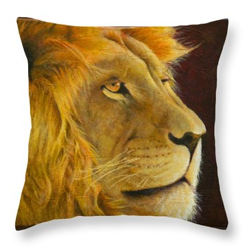 Lion's Gaze Throw Pillow