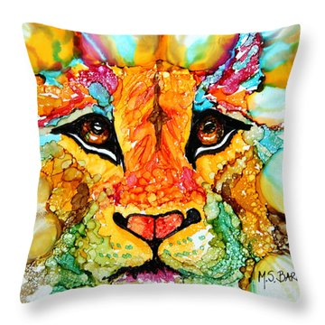 Lion's Head Gold Throw Pillow
