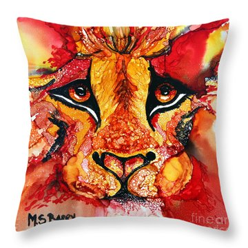 Lion's Head  Red Throw Pillow