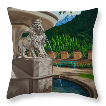 Lions Of Bavaria Throw Pillow by Charlotte Blanchard