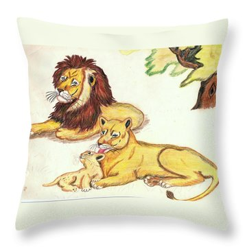 Lions Of The Tree Throw Pillow