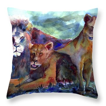 Lion's Play Throw Pillow
