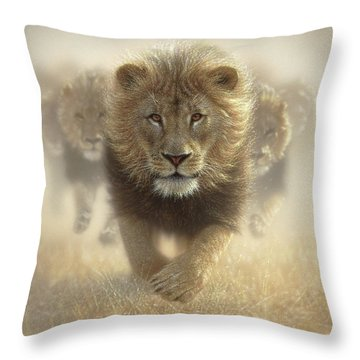 Lions Running - Eat My Dust Throw Pillow