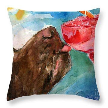 Throw Pillow featuring the painting Lip Smack Daq by Molly Poole