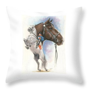 Throw Pillow featuring the mixed media Lippizaner by Barbara Keith