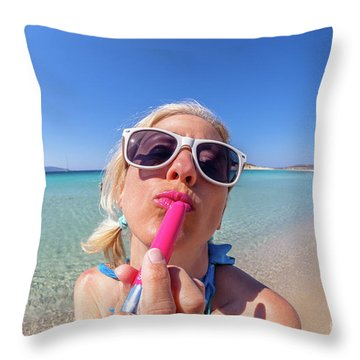 Lipstick Applying Throw Pillow